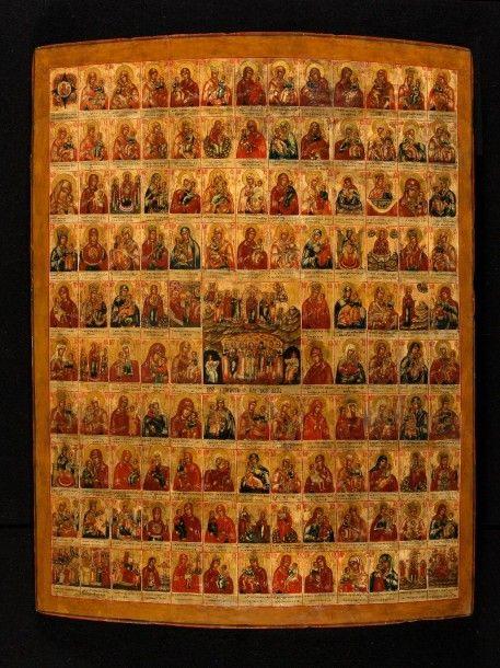 Icône miraculeuse de la Mère de Dieu icône russe, Russie centrale, fin du XVIIIème siècle tempera à l'oeuf sur bois 105 cm x 82,7 cm - ARTEMISIA auctions - 17/06/2015