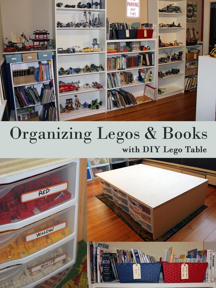 organizing legos | Organizing legos and books in a kid's room - very simple. This also ...