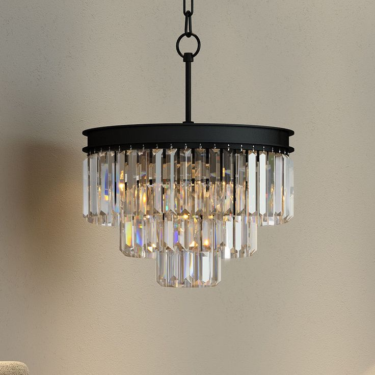 3 Tier Odeon Crystal Prism Fringe Glass Chandelier Restoration Lighting Black