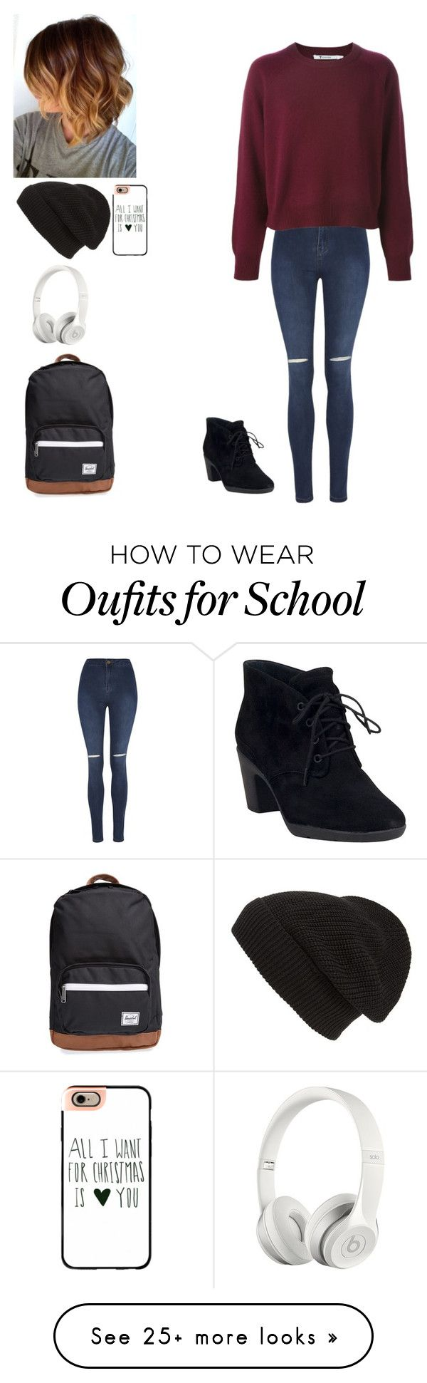"""""""Back to school"""" by rainbow22xd on Polyvore featuring George, Clarks, Phase 3, Casetify, Herschel Supply Co. and Beats by Dr. Dre"""