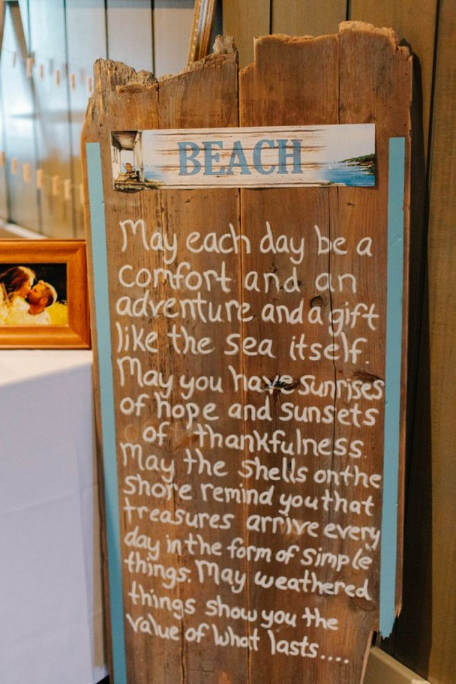 Beach Sign for a Wedding. Image: Catherine Ann Photography