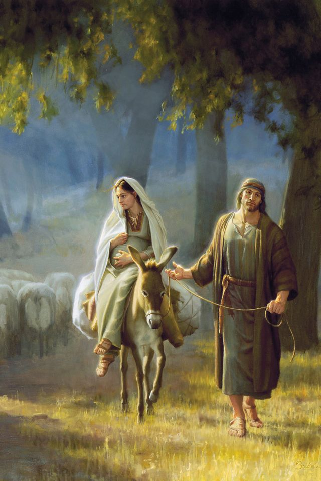 Mary and Joseph  I love this picture!  The whole picture with the little shepherd boy that Mary is looking at!  Probably wondering what her baby will be like.