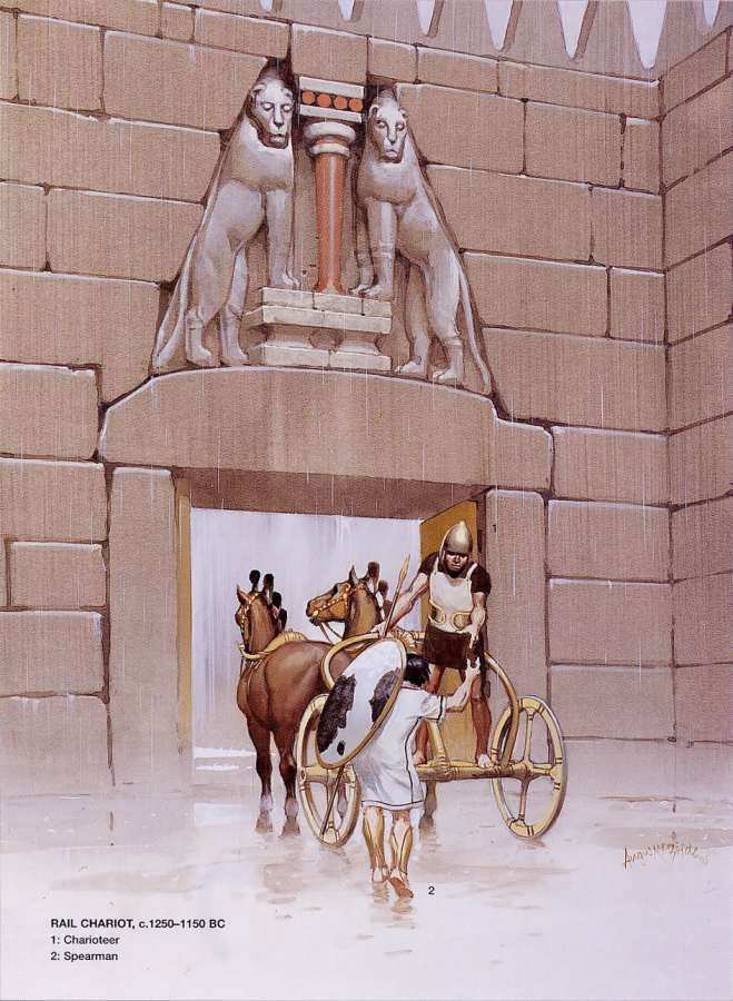 Mycenaean rail chariot at the Lion Gate at Mycene, 1250-1150 B.C.