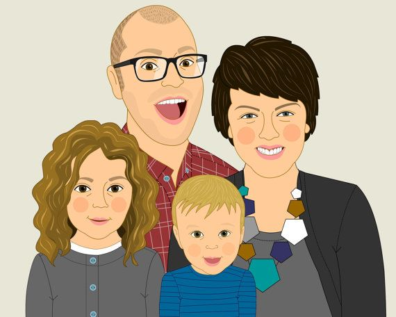 Custom Family Portraits. Custom illustration of 4 person. Gift for the whole family.