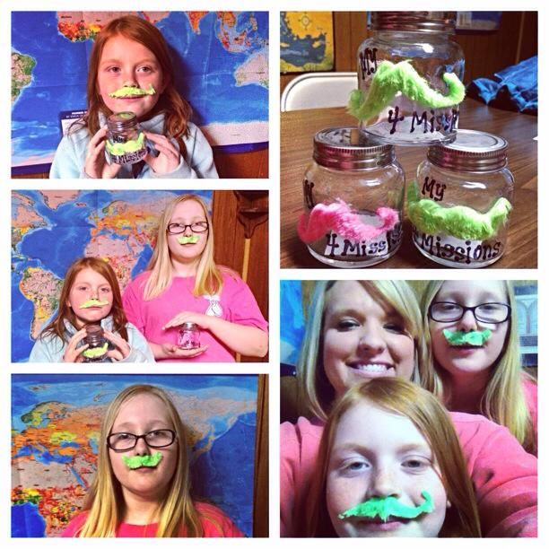 """My """"stache"""" for missions - What a great way to encourage your children to save their change for a missions offering."""