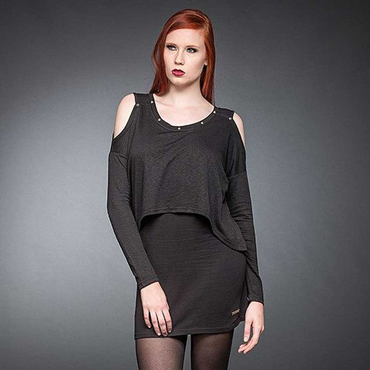 Queen of Darkness Korte jurk met lange mouwen, studs en open schouders