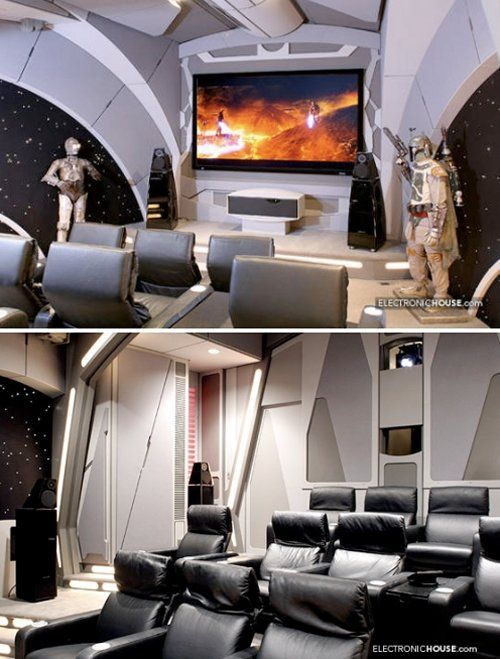 The geek in me loves this. REALLY REALLY LOVES THIS. Why do your average theater room when you can geek it out?
