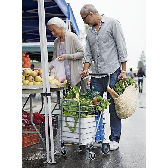 Polder ® plegable Carro de compras aire aislante gris Liner en Almacenamiento | Crate and Barrel