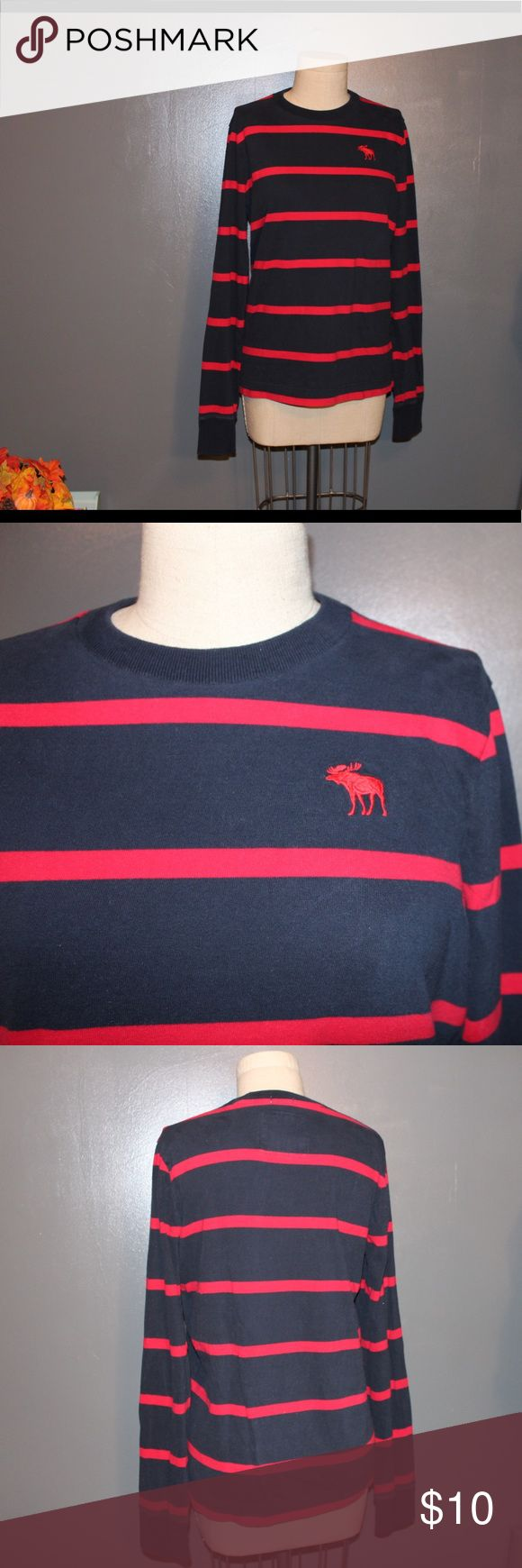 ABERCROMBIE Men's Longsleeve Previously Loved but no stains or major signs of wear this is dark blue and red striped Abercrombie & Fitch Shirts Tees - Long Sleeve