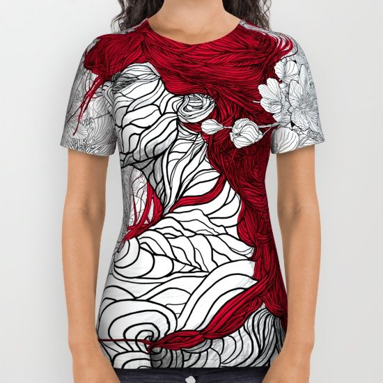 These premium quality American Apparel all over print shirts feature original art from seam to seam. The cotton-soft 100% polyester wicks moisture and maintains a rich color throughout.  All over print tees are unisex fit, so women should make size selections accordingly and order a minimum of one size smaller. Please Note: Every shirt is uniquely produced using a sublimation process that can create anomalies in some areas, typically under the arm, that leaves small portions of fabric white.