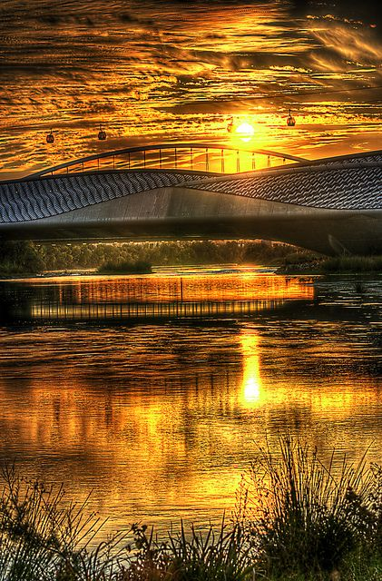 Beautiful sunset with reflections