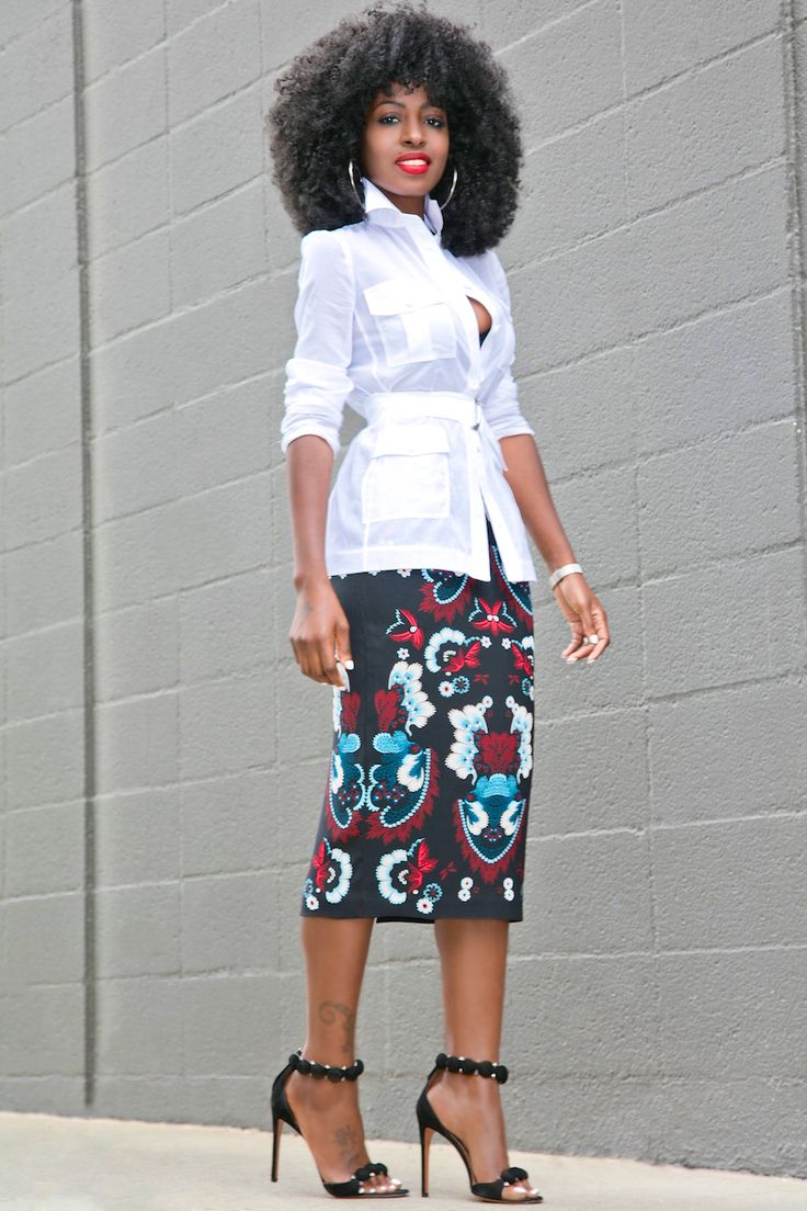 Style Pantry | Military Inspired Voile Shirt + Garland Print Pencil Skirt