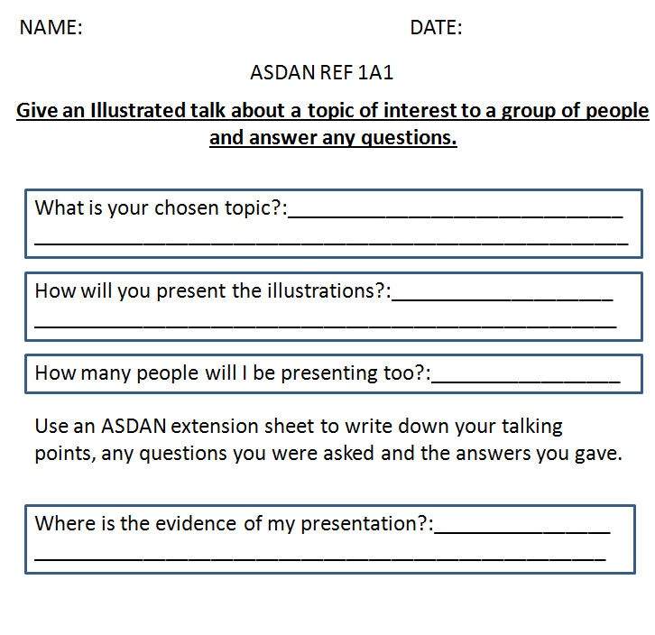 These are worksheets i used in an EBD's ASDAN lessons. The worksheets are geared around the 2008/09 ASDAN worksheet but can easily be changed to meet current ASDAN and COPE standards.