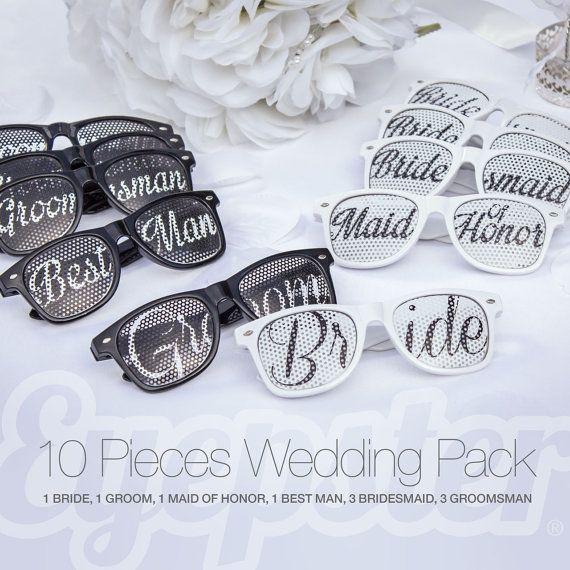 10pcs Wayfarer WEDDING SUNGLASSES PACK (Bride, Groom, Maid of Honor, Best Man, Bridesmaid, Groomsman)