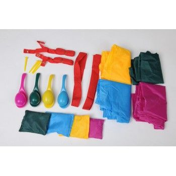 Sports day set perfect for a creche or school or even just playing out on your own garden. This set includes 4 x jumping sacks, 4 x plastic spoons and eggs, 4 x bean bags , 4 plastic stakes, 2 x ankle straps, 1 x start line, 1 x finsh line and a colour box.