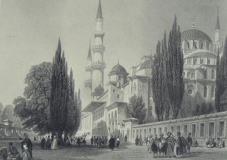 HALİÇ ALBÜMÜ: #Süleymaniye Camii ve dış avlusunu betimleyen gravür (Thomas Allom, 1839) #istanbul #haliç #fatih