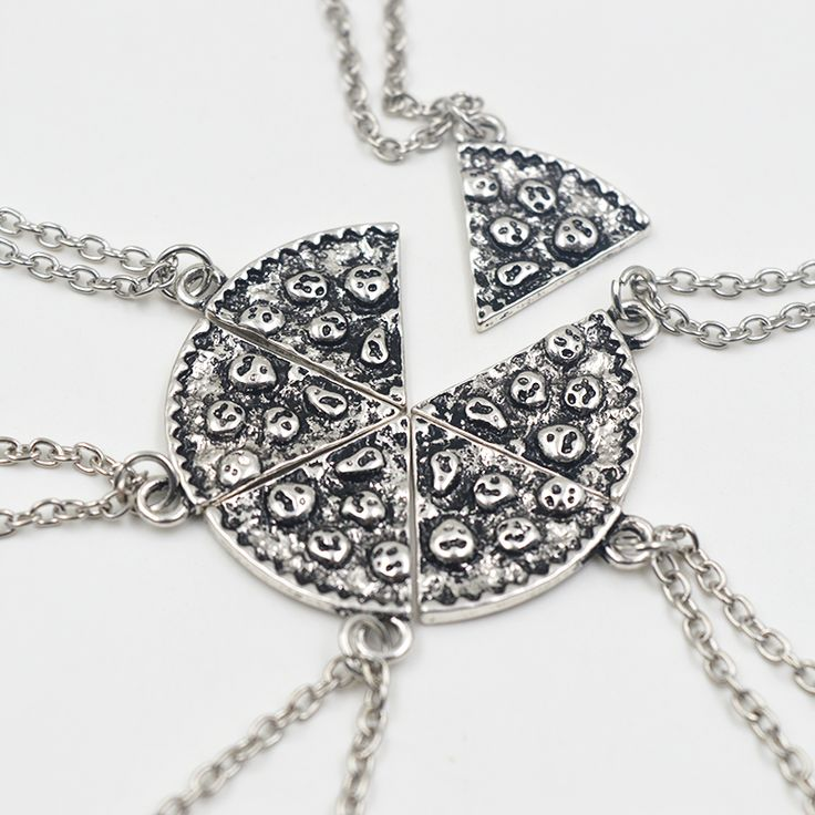 6pcs Pizza Pendant Necklaces Friendship Necklace Best Friends Forever Creative Keepsake Memorial Day Christmas Gift For Friend -- Clicking on the VISIT button will lead you to find similar product