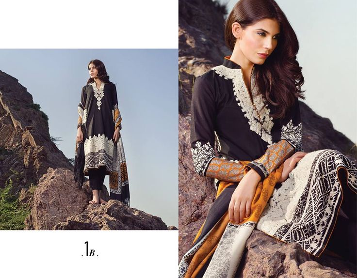 """Bella Stiles Presents:-""""SANA SAFINAZ WINTER 2014"""" Fabric details:-marina fabric shirt with a delicately embroidered neck, printed woven shawl and cotton shalwar.  To place #Orders:(#USA):610-616-4565, 610-994-1713; (#India):91-226-770-7728, 99-20-434261; E-MAIL:market@bellastiles.com, wholesale@bellastiles.com #fashion #ethnic #suits #stylish #embroidery #sale #discount #ladies #shopping #Trendy #Elegant #freeshipping #dresses #Desi #girls #eCommerce #online #international #Bellastiles…"""