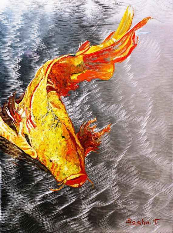 29 best images about painting on stainless steel on for Silver koi fish