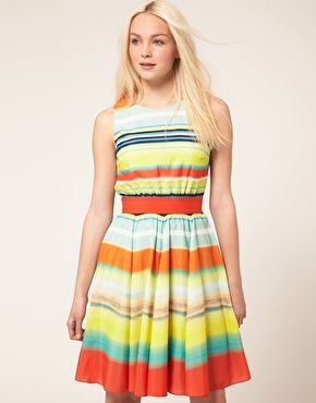 Ted Baker Fit & Flare Dress In Stripe Print