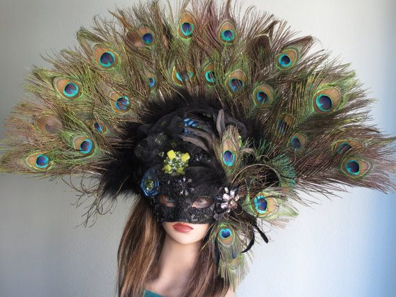 Halloween Masquerade Feather Mask Ball by BridalWorldAccessory, $346.99