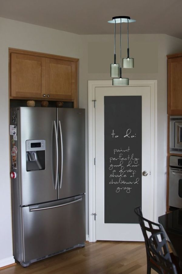Chalkboard pantry door? - Chalkboard paint a MIRROR and HANG on pantry door. :-) by Raelynn8
