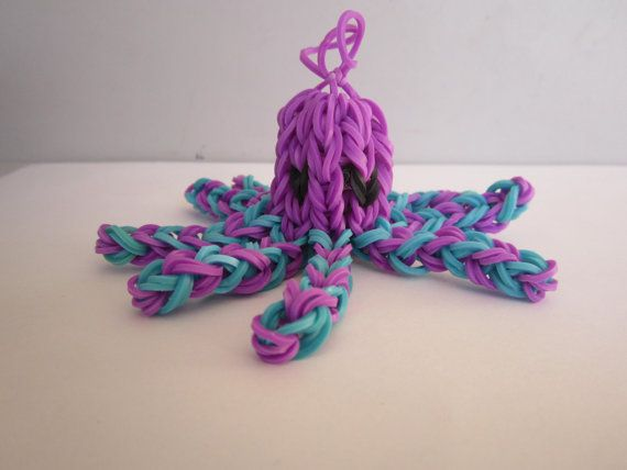 Cute rainbow loom octopus keychain/bag charm for sale - You choose the colours!