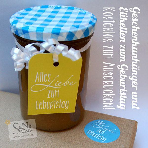 Geschenkanhänger und Klebeetiketten zum Geburtstag zum kostenlos Ausdrucken
