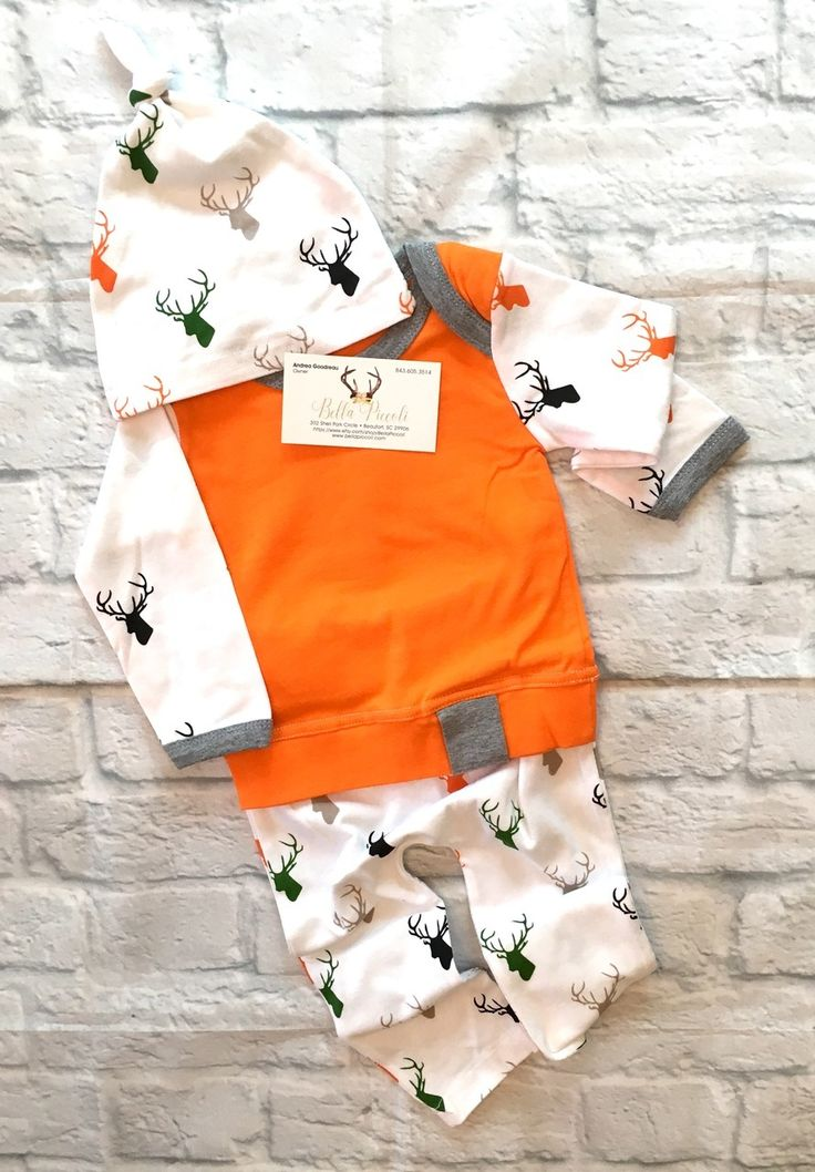 Baby Boy Deer Three Piece Orange and Gray Outfit, Boy Deer Outfit, Deer Clothing, Baby Boy Deer Clothing, Baby Boy Deer Pants, Baby Boy Deer Hat, Newborn Baby Deer Hat, Baby Boy Baby Shower, Deer Baby Clothing - BellaPiccoli