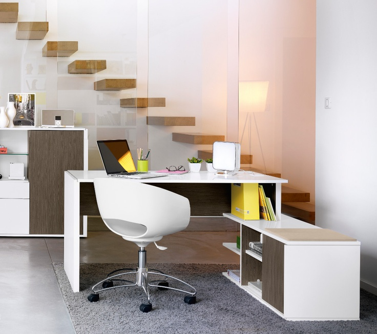Space2 home office 1400 white and oak desk with return