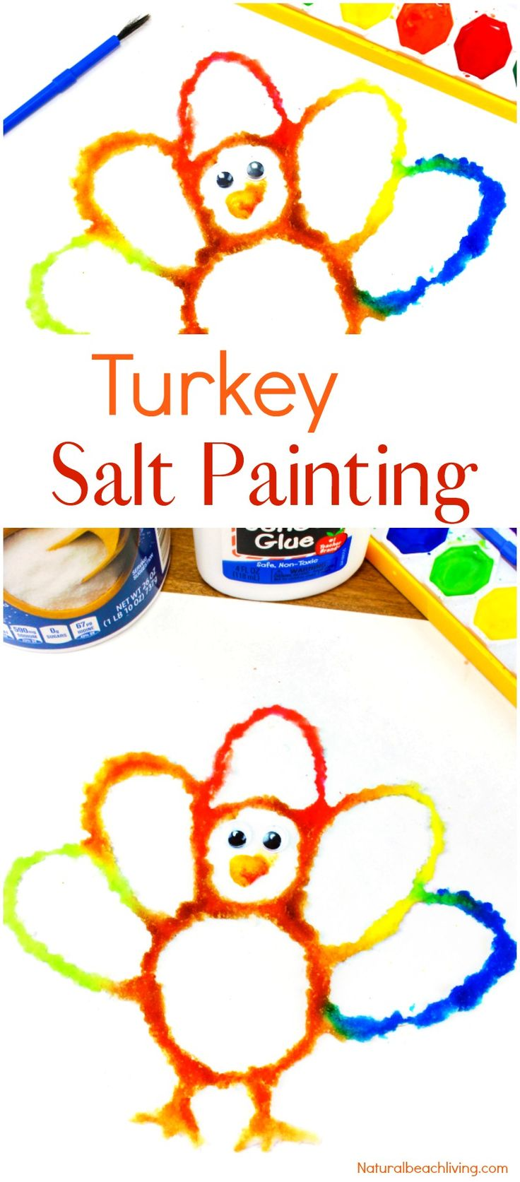 How to Make The Best Thanksgiving Turkey Salt Painting, Watercolor Salt Painting, Turkey Preschool Craft, Fun Fall Turkey craft kids love, Raised salt painting, process art