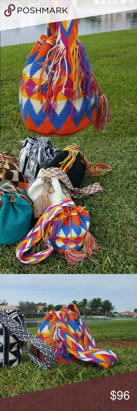 Summer colored wayuu bag Authentic new luxury mochila bag. ️handmade by Indian wayuu community of Colombia. Each bag is one of a kind and made with absolute skills and dedication. Each bag take around 20 days to make. Shakira, Katie perry and Monaco princes use wayuu bags Bags Shoulder Bags