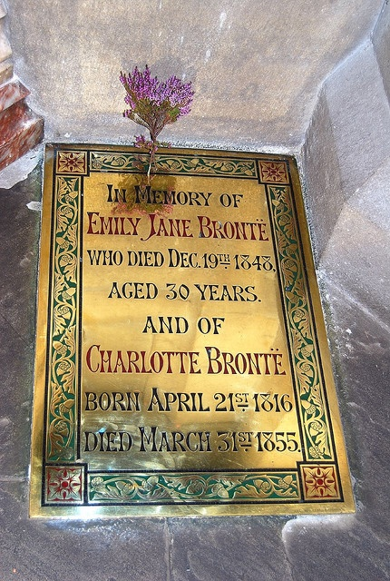 emily jane brontë (30 July 1818 – 19 December 1848) grave plaque in Haworth (by davekpcv, via Flickr)