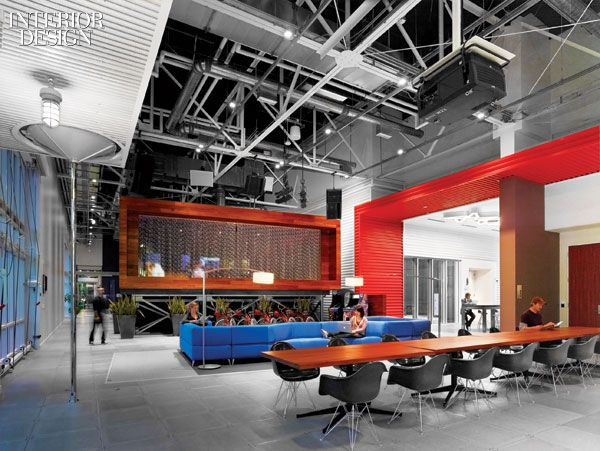 Reception area at YouTube Headquarters in LA by HLW International | As seen  in... CORPORATE | Pinterest | Reception areas, Office designs and Office  spaces