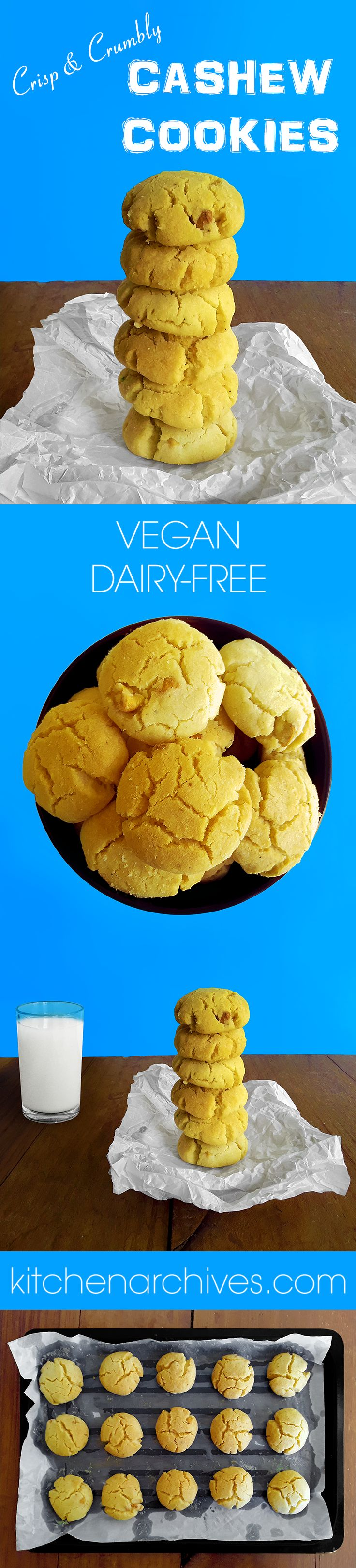 Delicious, crisp and crumbly, melt-in-your-mouth, sweet, vegan cashew cookies - Kitchen Archives.