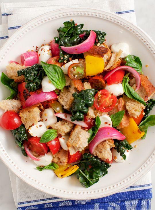 sweet pepper panzanella salad