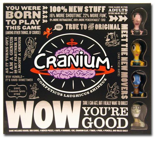 Cranium WOW includes an all new gameboard, 600 new cards with 15 fun activities (we promise), a 10-sided die (the 9-sided die just wasn't working), a tub of lovely, lovely cranium clay, a timer, pads, pencils, 4 new character movers with custom hats and hairdos, and sass.  Cranium is a roll and move game with four distinct decks of cards that have the players perform, answer trivia, sculpt, and use their knowledge of popular culture to advance through the board to the center.  It is a ver...