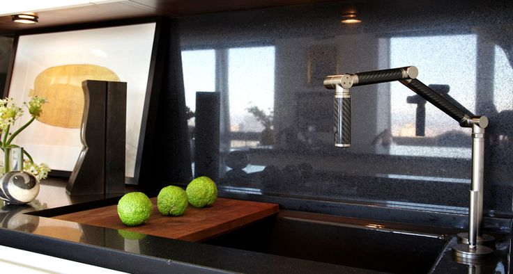 Sustainable Urban Aerie Kitchen - Karbon Kitchen Faucet and Stages Kitchen Sink.  By KOHLER