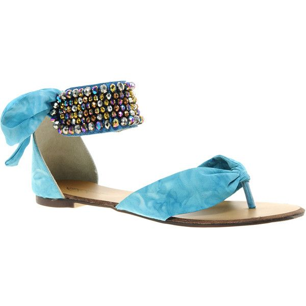 Park Lane Blue Beaded Flat Sandal (18.175 CLP) ❤ liked on Polyvore featuring shoes, sandals, blue, blue shoes, flat sole shoes, ankle wrap sandals, open toe flat shoes and ankle strap sandals