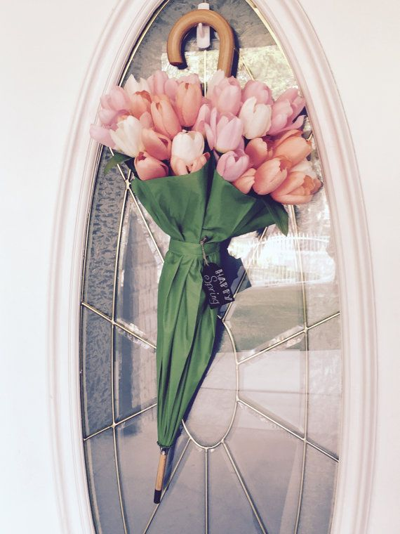 Spring Floral Umbrella Wreath Door Hanger Southern Decor Green