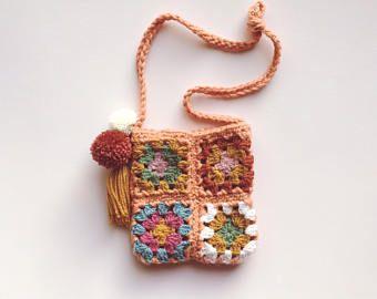 Bolso de ganchillo | Abuela Plaza de bolso de ganchillo | Accesorio para niños | Borla bolso | Pom pom