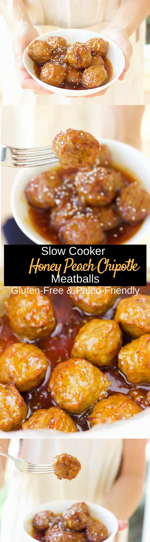 slow cooker honey peach chipotle meatballs gluten free paleo