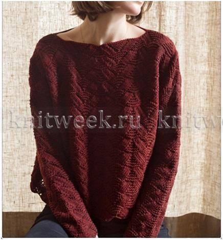 Пуловер оверсайз с ажурно-рельефным узором