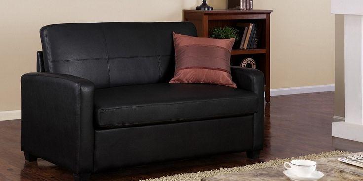 Twin Sleeper Sofa Black Faux Leather