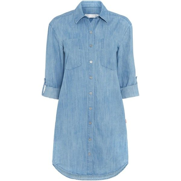 Seafolly Journey chambray shirt dress (140 BRL) ❤ liked on Polyvore featuring dresses, tops, vestidos, clearance, denim, blue chambray dress, blue dress, long shirt dress, chambray dress and blue shirt dress