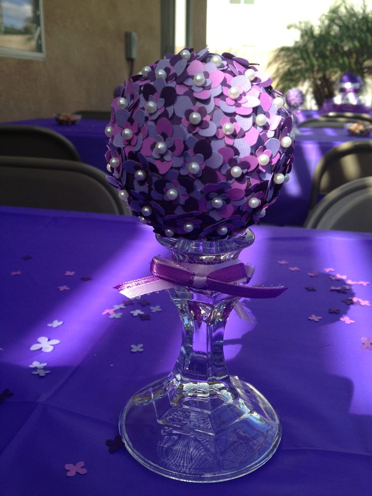 Topiary centerpieces purple baby shower baby girl my for Baby shower decoration centerpieces