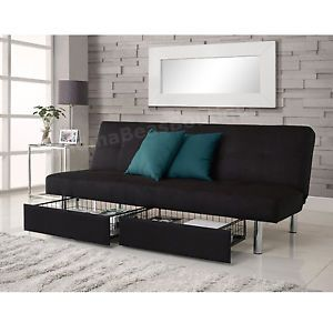Black Convertible Sleeper Sofa Bed Futon Couch Storage Drawers Guest Dorm Room | eBay