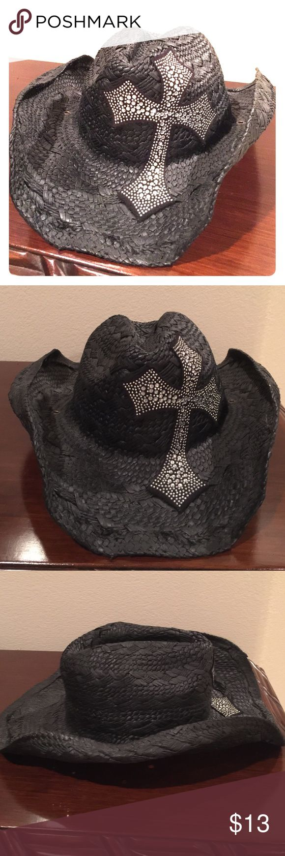 Black rhinestone cowboy hat Black flexible cowboy hat. One sized. Rhinestone cross. Pre-worn. :) Accessories Hats