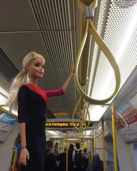 Barbie Rides the Tube, Wearing New Qantas Uniform/Qantas