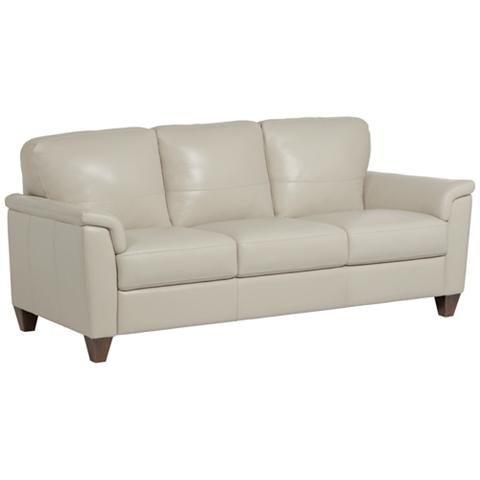 "Digio Belfast 85"" Wide Beige Italian Leather Sofa"